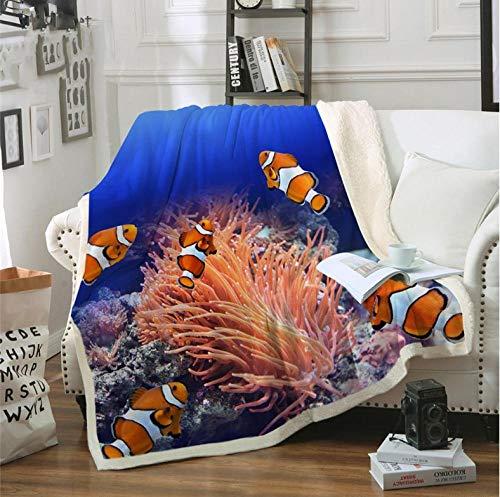 FFCLZ Fischteppich Clownfish 3D Bett Coral Ocean Blanket Ocean Blue Bettwäsche Deep Sea Blanket @ 150 * 130cm