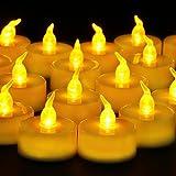 Senza Fiamma LED Candele da Tè, 24 Pcs PiccoloLuminoso Candele Tremolanti con Batteria per Party, Festa, Matrimonio, Halloween, Natale Decorazione (Giallo Ambrato)