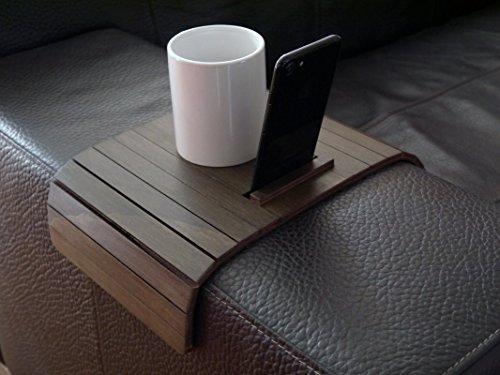 Holz sofa armlehnentisch mit smartphone stehen in vielen farben wie wenge Armlehnentablett Moderner tisch für couch Klein schleichendes sofatisch Armlehne flexibel tablett Falten couchtisch Laser Mobile