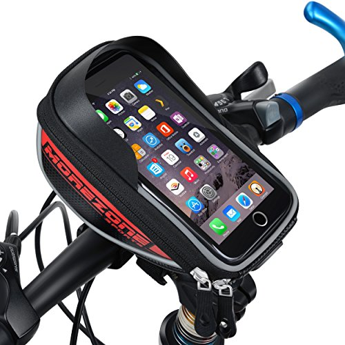 Morezone Bike Handlebar Bag For Smart Phone Holder With Touch Screen Bicycle Pouch Bike Frame Bags Fit For Cellphone Below 5.5 inch (Red)