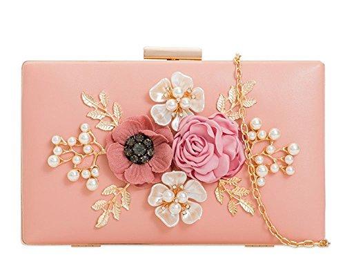 Haute für Diva S Damen NEU Kunstleder Blumenmuster Dekoration hart kompakt Braut Ball Abend Clutchbag Portemonnaie - Schwarz, Small Rosa