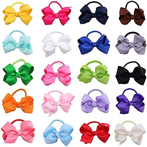 20PCS Handmade Grosgrain Ribbon Boutique Elastic Bow Bows Bowknot Hair Bobbles Band Ponytail Holders For Girls kids Child Toddlers Random Color