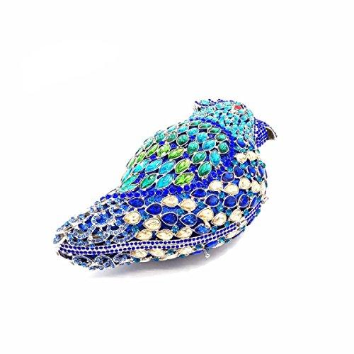 Borse Donna Uccello Design Lussureggiante Cristallo Di Sera Della Frizione Blue