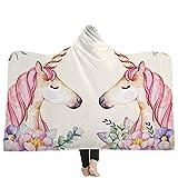 Einhorn Kuscheldecke Cartonn Motiv Tier Blumen Wohndecke Decke Kapuzendecke Tagesdecke Schlafdecke Sofadecke für Erwachsene Kinder 6 130x150cm