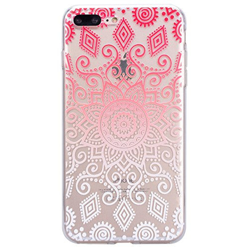 Yokata iPhone 7 Hülle Transparent Weich Silikon TPU Case Handyhülle Schutzhülle Durchsichtig Clear Backcover Bumper mit Color Kreisel Muster + 1 x Kapazitive Feder Magic Color Garten Blume