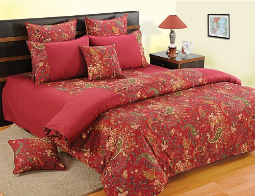 Swayam Shades of Paradise Printed Cotton Double Duvet Cover - Maroon (TSR02-3002)