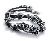 Feilok Vintage Drache Köpfe Phönix Schwanz verstellbar Armband/Armreif für Damen/Herren, mit Schwarz Leder Kord