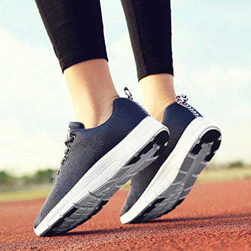 HWF Chaussures femme Chaussures de course à pied de sport de printemps respirant Mesh Flat Casual Shoes ( Couleur : Noir , taille : 35 ) Bleu Foncé