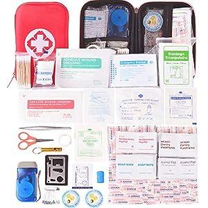 Kompakt Erste Hilfe Set mit 175 Teilen Harte Tasche- Mini First Aid Kit – Wasserdichte Medizinische Notfalltasche für Auto, Zuhause, Büro, Camping, Arbeitsplatz, Wandern, Jagd und Abenteuer
