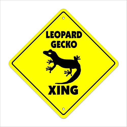 SignMission Leopard Gecko Crossing Sign Zone Xing |-| 43,2 cm Käfig Reptile Eidechse Lebensmittel -