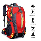 Impermeabile Zaino di Hiking Trekking Campeggio Viaggi Camping Backpack Zaini da Escursionismo ,Multifunzione, 40L (rosso)