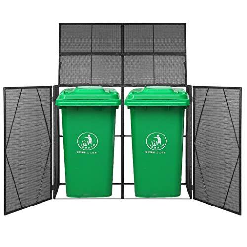 mewmewcat Mülltonnenbox für 2 Tonnen Poly Rattan Schwarz 153x78x120 cm