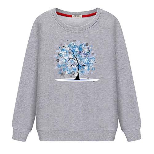 Felpe con cappuccio felpe 3d-pullover maglietta a maniche lunghe da donna primavera e autunno stampa girocollo sciolto cappotto casual sottile, xxl, grigio