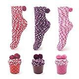 Leapop 1 oder 3 Paare Damen Mädchen Socken Cupcakes Design Flauschig Gemütliche Weiche Dicke Warme Weihnachtssocken mit Geschenkbox, 3 Paare (Rot+lila+rosa Rot), Einheitsgröße