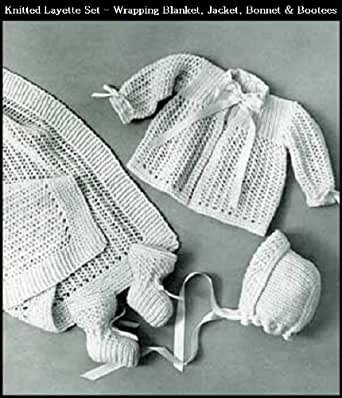 Knitted Infants Layette Set 4 Vintage Baby Knitting Patterns