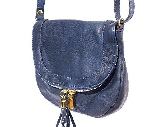 Sac bandoulière en cuir souple avec pampille 238S Bleu foncé