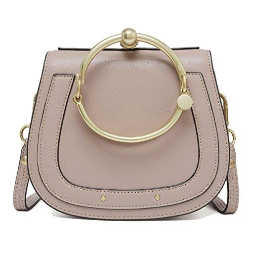 Damenmode Echtes Leder Handtasche Messenger Cross Body Schultertasche Metall Ring Kleine Handtasche,BarePink-20 * 6.5 * 17cm -