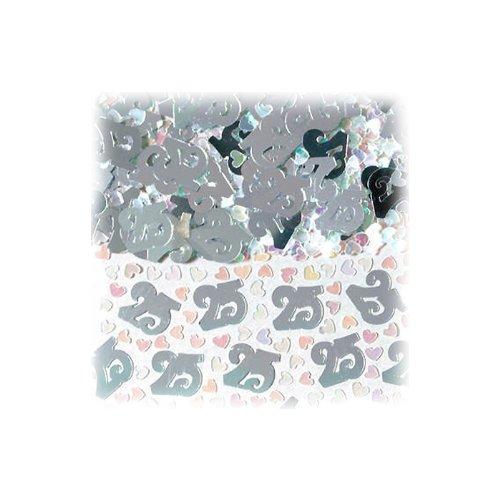 Amsca, coriandoli a forma di numero 25, con cuoricini, colore: argento