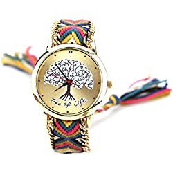S&E? Women's National Style Big Tree Shape Dial Plate Knitting Strap Wrist Watch