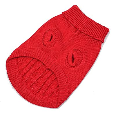 Red Cute Pet Puppy Cat Dog Warm Jumper Sweater Knitwear Coat Apparel Clothes S
