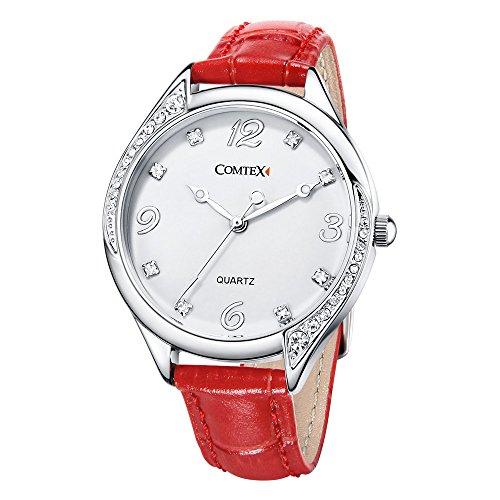 Comtex Damen Uhr Analog Quarz mit Rot Leder Armband Wasserdicht FYM140128L-RED Rote Wasserdichte Leder