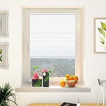 Estor Plisado Plegable Opaco Traslúcida sin taladrar - 100% poliéster 40 x 130 CM Color Blanco