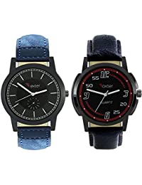 Talgo 2017 New Collection Foxter (combo Of 2) Black Round Shapped Dial Leather Strap Fashion Wrist Watch For Boys... - B0763V5B6J