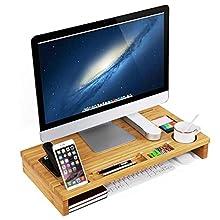 SONGMICS Bamboo Monitor Stand Riser, Desktop Organiser for Laptop, Phone, TV, Printer LLD201