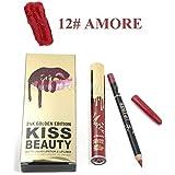 Kiss Beauty 24K Golden Edition Matte Liquid Lip Stick and Lip Liner (Amore)-7782-12