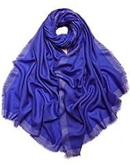 Prettystern - 200/70cm einfarbig Diamant Muster silber Fäden 100% Wolle Pashmina Schal Stola - 5 Farben