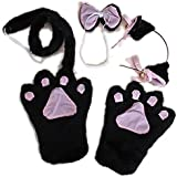 Trendyline® Fancy Cat Cosplay Anime Convention Neko Costume Lolita Gothic Paw Ear Tail Bell Hairclip Bow Tie Party Set(Black) by Trendyline