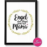 ENGEL = MAMA Geschenkideen Muttertag Geburtstag, persönliches Muttertagsgeschenk Geburtstagsgeschenk Frauen mit Rahmen in A4