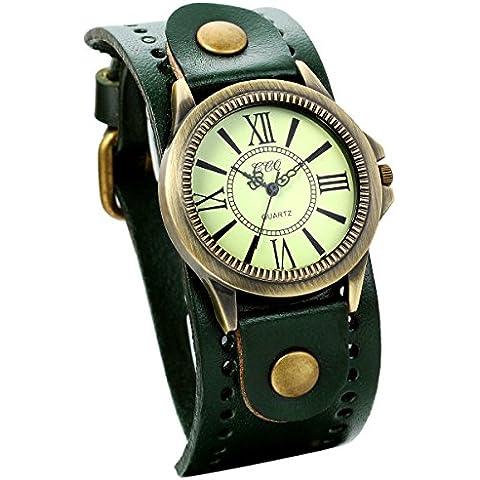 Jewelrywe orologio da polso donne scuro cinturino in pelle verde retr¨° stile vintage bronzo romano motivo cifra per l'estate