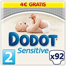 Dodot Sensitive - Pañales para bebés, talla 2 (3-6 kg), 1 pack de 92 pañales