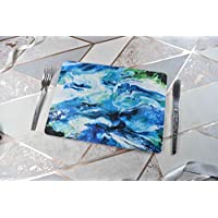 Placemats Set in Blue, Green and White