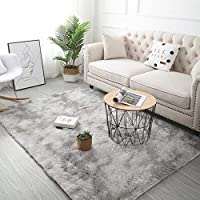 Aomerrt Grey Carpet Tie Dyeing Plush Soft Carpets For Living Room Bedroom Anti-slip Floor Mats Bedroom Water Absorption Carpet Rugs,light grey,140x200cm
