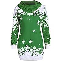 LILICAT☃ Bufanda Cuello Manga Larga Estampado Copo de Nieve Suéter de Navidad Moda Mujer Feliz Navidad Copo de Nieve Impreso Tops Cuello Capucha Sudadera Blusa