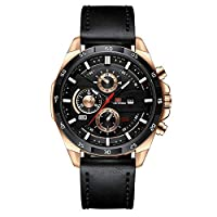 HHC.G Men's Watch Original Decorative Roulette Fashion Casual Personality Business Quartz Waterproof Gift Watch Black Leather Strap