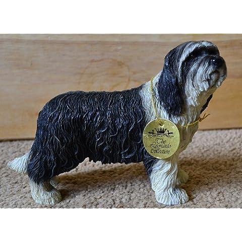 Leonardo - Statuina a forma di cane razza Collie barbuto, statua ornamentale ed elegante idea regalo per amanti dei