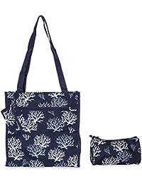 Ever Moda Coral Print Tote Bag Set Of 3