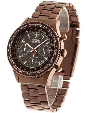 DETOMASO Herren-Armbanduhr Firenze mit braunem Edelstahl-Gehäuse und braunem Zifferblatt. Marken-Herren-Uhr mit...