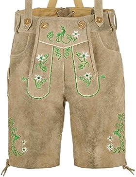 kurze Herren Trachten-Lederhose mit Stickerei, used-look Farbe grau-braun antik, Trachtenhose Oktoberfest