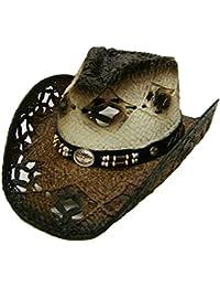 Modestone Unisex Straw Sombrero Vaquero Brown Off White