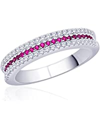 Diwali Gifts Peora Sterling Silver Rhodium Micro Pave CZ Paint The Town Red Ring (PR525R-5)