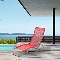 [casa.pro]® Tumbona plegable - Silla para playa - 190 x 60 x 98 cm - Respaldo ajustable - Rojo