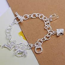 Unique Fashion 925bañado en plata joyería mano pulsera de cadena Oval Cruz con casco del caballo