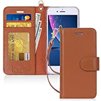 FYY iPhone 8 Cover/Case, iPhone 7 Cover/Case, [RFID Blocking wallet] 100% Handmade Wallet Case Stand Cover Credit Card Protective Case Brown