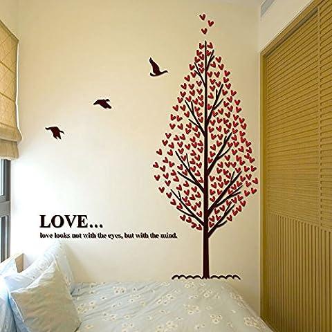 Parete Stereo figurine grandi divani pareti camera da letto decorare l'albero 3D acrilico adesivi parete grande albero Wall stickers,giallo 198*200cm