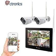 """(Touchscreen)Ctronics überwachungskamera Set 2.4G drahtloses NVR WiFi-Kamera-System mit 9"""" Touchscreen-Monitor und 2 * 720p WiFi-IP Netzwerkkamera für die Überwachung des Eigenheims."""