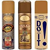 Lomani, Remy Latour Cigar and Do It and El Paso Deodorant Spray, 200ml capacity Each, (B0763L6K77, Gold)-Pack of 3